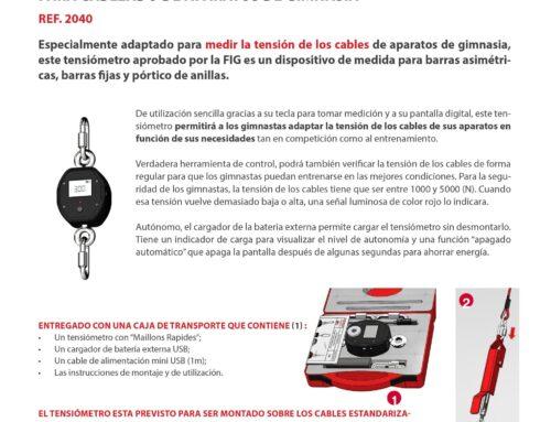 Tensiómetro de control para cableado de aparatos de gimnasia.